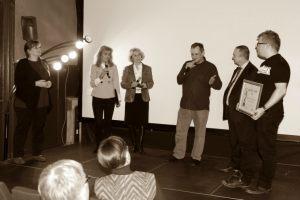 Rozmowa z gośćmi, na zdjęciu - od lewej: Małgorzata Frymus, Anna Kolmer, Helena Kwiatkowska, Ryszard Słowicki, Pasquale Policastro, Łukasz Nyks