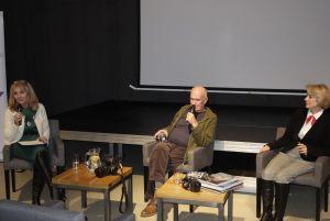 Spotkanie z Markiem Czasnojć, od lewej: Anna Kolmer, Marek Czasnojć, Helena Kwiatkowska