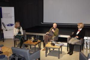Spotkanie z Markiem Czasnojć, od lewej: Anna Kolmer, Marek Czasnojć, Helena Kwiatkowska 2